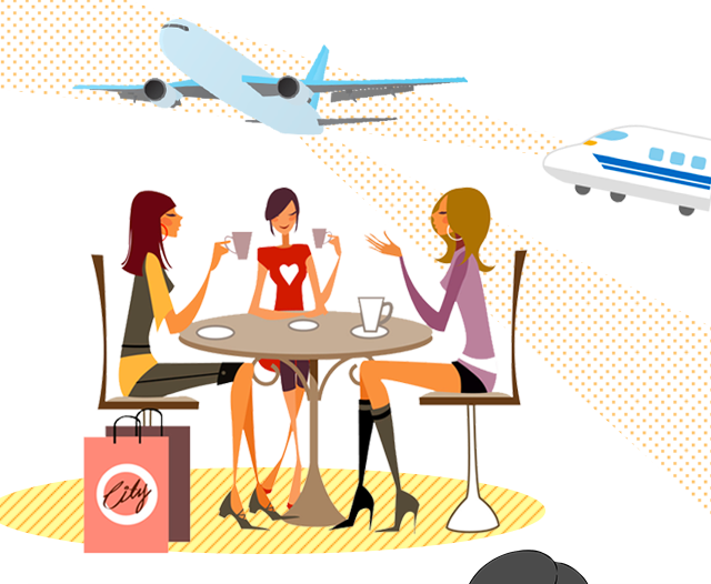 女性3名と飛行機、新幹線のイラスト